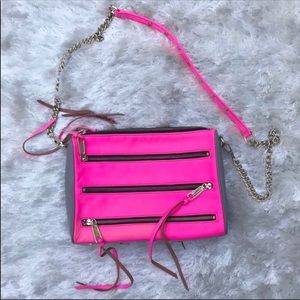 REBECCA MINKOFF Hot Pink & Gray 5 Zip Crossbody